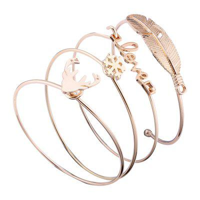 Письма Love Antlers Feathers Shape Alloy Open Bangle Set