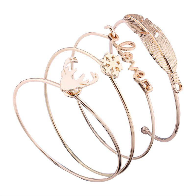 Lettres Love Antlers Feathers forme alliage ouvert Bangle Set