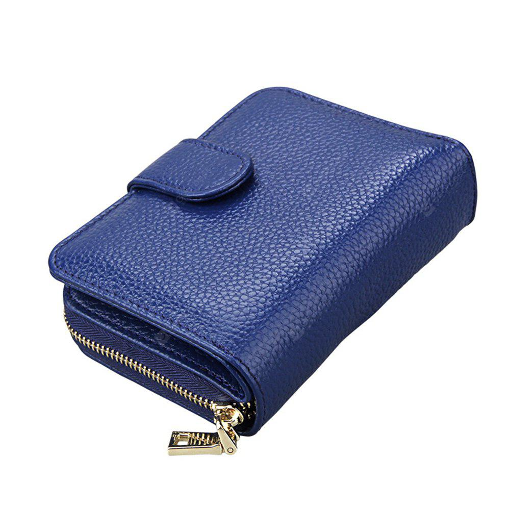 Fashion Women Genuine Leather Wallets Mini Cowhide Bag Card Holder BLUE