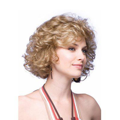 European Women Style Short Curly Hair Golden Blonde Synthetic Wigs
