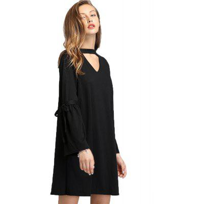 Buy BLACK L Europe and The United States V Collar Trumpet Sleeve Dress for $20.08 in GearBest store