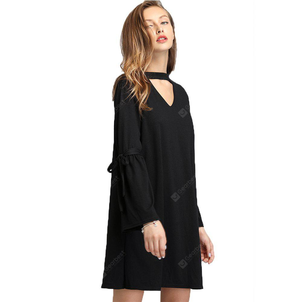 BLACK XL Europe and The United States V Collar Trumpet Sleeve Dress
