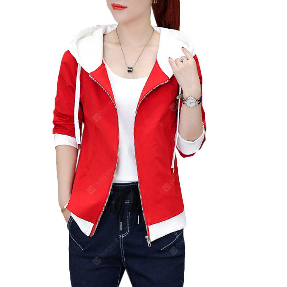 Women's  Coat  Solid Color Patched Long Sleeve Zipper Coat L RED