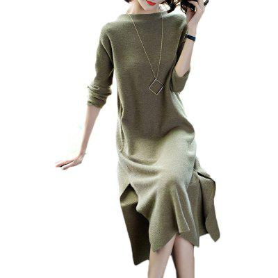 Buy DARK GREEN 2XL Long sleeve loose-fitting and thin slit knit dress of long hair for $24.84 in GearBest store