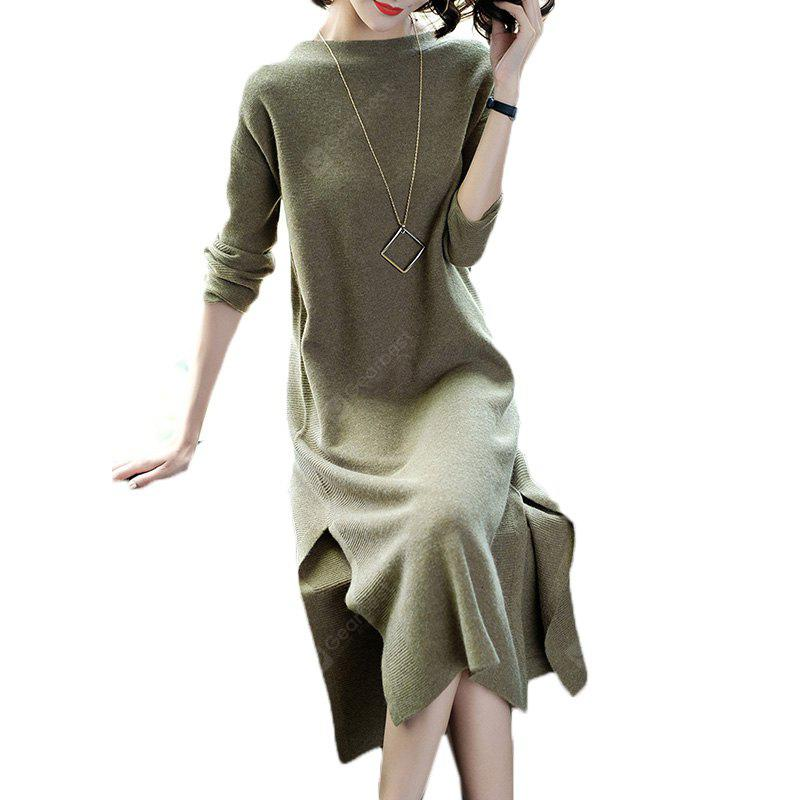 DARK GREEN 2XL Long sleeve loose-fitting and thin slit knit dress of long hair