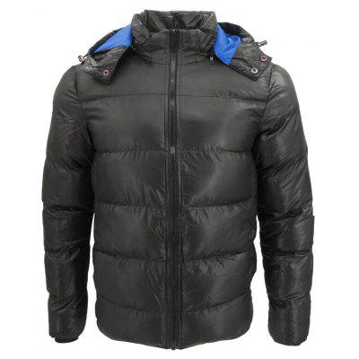 Solid Thick Warm Winter Men Hooded Slim Short Paragraph Padded Coat
