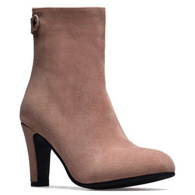 Buy PINK 38 Miss Shoes 1309 Round Head and High Heel Height Heel Stretch Boot for $45.09 in GearBest store