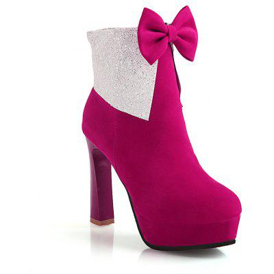 Miss Shoes 7002 Round Head Stiletto Heels and Cute Chic Ankle Boots