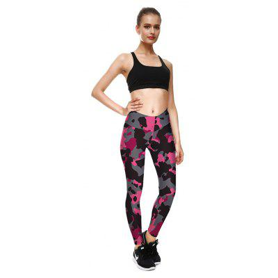 Buy Women Leggings Leopard Camouflage Color 3D Digital Printing Slim Pink Fitness Woman Yoga Leggings Pencil Pants BLACK WITH PINK S for $29.68 in GearBest store