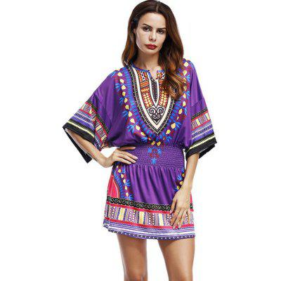 National Wind Round Collar Tightens The Body Print Short Dress