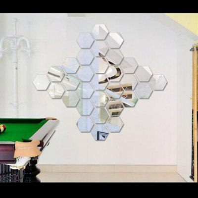 Hexagon 3D Art Diy Mirror Wall Stickers for Home Wall Decal squares luxury wall art diy clock mirror stickers for home decoration silver