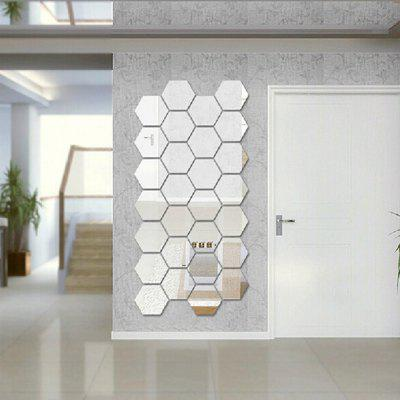 Gearbest Hexagon 3D Art Diy Mirror Wall Stickers for Home Wall Decal