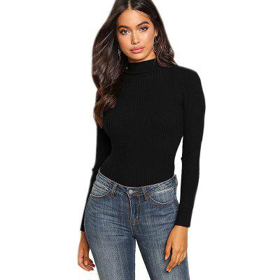 Damenmode Rundhals Slim Long-Sleeved Sweater