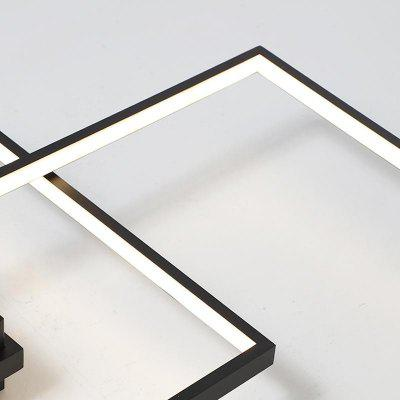 Modern Black LED Flush Mount Ceiling Light Square Combination Shape for Office Living Dining Room BedroomsFlush Ceiling Lights<br>Modern Black LED Flush Mount Ceiling Light Square Combination Shape for Office Living Dining Room Bedrooms<br><br>Battery Included: Non-preloaded<br>Bulb Base: LED Integrated<br>Bulb Included: Yes<br>Bulb Type: LED<br>Chain / Cord Adjustable or Not: Chain / Cord Adjustable<br>Color Temperature or Wavelength: Warm White 3000K / Cold White 6000K<br>Decoration Material: Acrylic<br>Dimmable: No<br>Features: Multi-shade, Extended, Designers<br>Finish: Paint<br>Fixture Height ( CM ): 7<br>Fixture Length ( CM ): 88<br>Fixture Material: Aluminum<br>Fixture Width ( CM ): 57<br>Light Direction: Ambient Light<br>Light Source Color: Cold White,Warm White<br>Number of Bulb Sockets: 2<br>Number of Tiers: Single Tier<br>Package Contents: 1 x Lamp Body, 1 x Fittings Bag<br>Package size (L x W x H): 48.00 x 48.00 x 13.00 cm / 18.9 x 18.9 x 5.12 inches<br>Package weight: 2.3000 kg<br>Product size (L x W x H): 88.00 x 57.00 x 7.00 cm / 34.65 x 22.44 x 2.76 inches<br>Product weight: 1.9000 kg<br>Remote Control Supported: No<br>Shade Material: Aluminum Alloy, PC<br>Stepless Dimming: No<br>Style: Artistic Style, Chic &amp; Modern, LED, Modern/Contemporary, Simple Style<br>Suggested Room Size: 20 - 30?<br>Suggested Space Fit: Bedroom,Dining Room,Indoors,Living Room,Office<br>Type: Flush Mount<br>Voltage ( V ): 220V - 240V,AC110 - 120V<br>Wattage (W): 42W