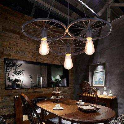 Industrial  Pendant Light Retro Vintage Style  Matte Black Shade Wheel Shape for Living Dining Room Living Bedrooms