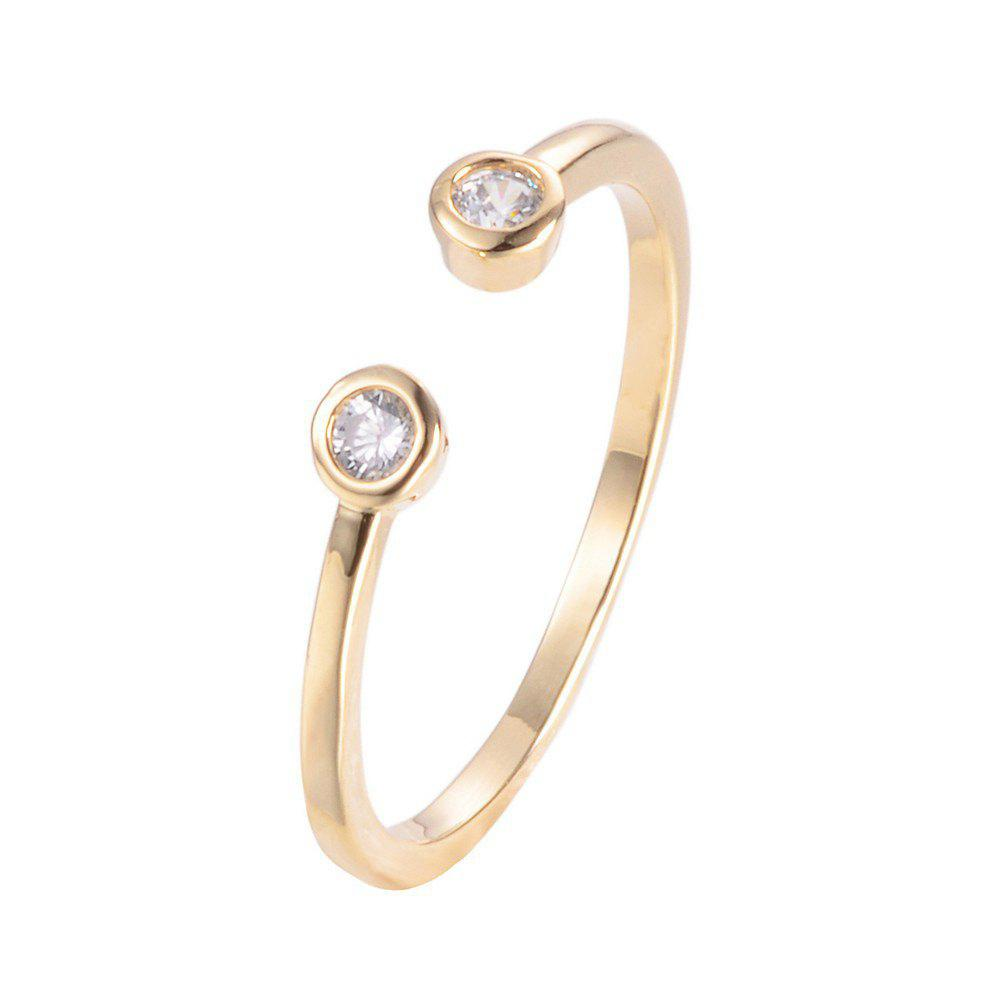 Small Cute Round Zircon Inlaid Open Female  Ring