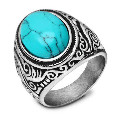 Vintage Stainless Steel Ring with Turquoise Titanium Men's Jewelry