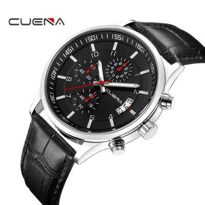 CUENA 6808P Fashion Trendy Mutilfunction Mens Genuine Leather Strap Quartz WristwatchMens Watches<br>CUENA 6808P Fashion Trendy Mutilfunction Mens Genuine Leather Strap Quartz Wristwatch<br><br>Band material: Genuine Leather<br>Band size: 25.5 x 2.2cm<br>Brand: CUENA<br>Case material: Alloy<br>Clasp type: Pin buckle<br>Dial size: 4.2 x 4.2 x 1.05cm<br>Display type: Analog<br>Movement type: Quartz watch<br>Package Contents: 1 x Watch, 1 x Box<br>Package size (L x W x H): 10.30 x 7.85 x 6.00 cm / 4.06 x 3.09 x 2.36 inches<br>Package weight: 0.1100 kg<br>Product size (L x W x H): 25.50 x 4.20 x 1.05 cm / 10.04 x 1.65 x 0.41 inches<br>Product weight: 0.0550 kg<br>Shape of the dial: Round<br>Special features: Working sub-dial, Luminous, Stopwatch, IP plating, Day, Light<br>Watch mirror: Mineral glass<br>Watch style: Casual, Trends in outdoor sports, Retro, Business, Fashion, Cool<br>Watches categories: Men,Male table<br>Wearable length: 16.5 - 24cm