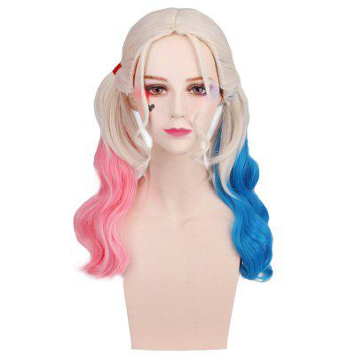 Long Blonde Ombre Blue and Pink Wavy Braid Hair Heat Resistant Synthetic Cosplay Wigs cheap heat resistant synthetic short hair curly wigs for black women peluca cosplay synthetic women best natural looking wigs