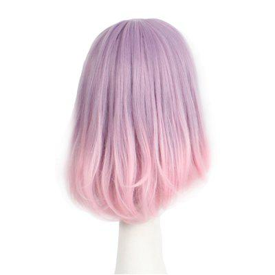 Straight Synthetic Wig With Bangs Pink Color Bob Style Classic Full Cap Wig For Girls free shipping short curly white silver wig with bangs high temperature wire new bob style synthetic wigs for women