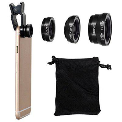 3 in 1 Mobile Phone Lenses Fish Eye Wide Angle Macro Camera for iPhone X / 8 Plus Xiaomi Huawei SamsungPhone Lenses<br>3 in 1 Mobile Phone Lenses Fish Eye Wide Angle Macro Camera for iPhone X / 8 Plus Xiaomi Huawei Samsung<br><br>Features: Selfie Stick<br>Package Contents: 1 x Fisheye Lens  1 x Bag<br>Package size: 15.00 x 12.00 x 7.00 cm / 5.91 x 4.72 x 2.76 inches<br>Package weight: 0.0250 kg<br>Product size: 10.00 x 5.00 x 5.00 cm / 3.94 x 1.97 x 1.97 inches<br>Product weight: 0.0200 kg