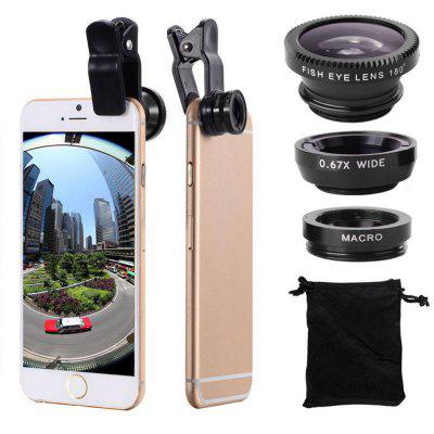 3 in 1 Lenti per Cellulari Fish Eye Grandangolare Macro Camera per iPhone X / 8 Plus Xiaomi Huawei Samsung