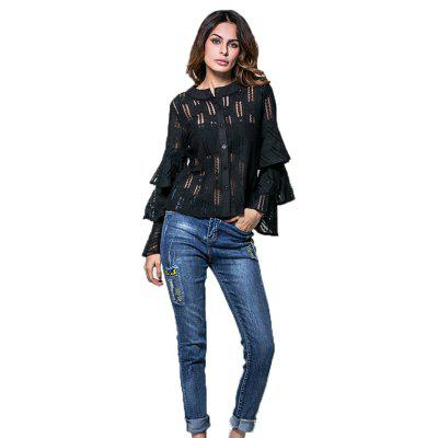 Buy BLACK L Spring and Summer Cake SleeveLace Shirt Flared Sleeve Long Sleeve Blouse for $21.81 in GearBest store