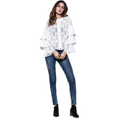Buy WHITE XL Spring and Summer Cake SleeveLace Shirt Flared Sleeve Long Sleeve Blouse for $21.81 in GearBest store