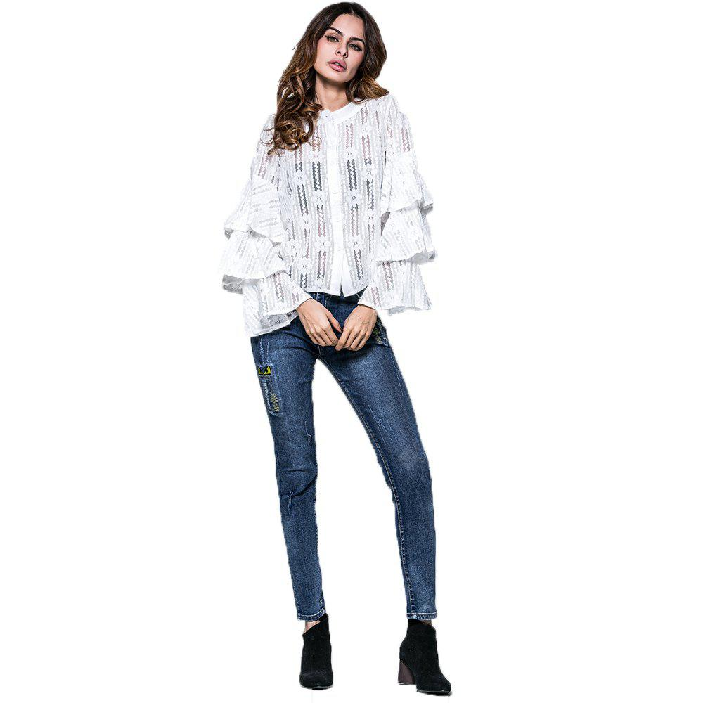 WHITE M Spring and Summer Cake SleeveLace Shirt Flared Sleeve Long Sleeve Blouse