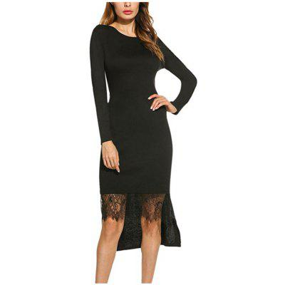 Buy BLACK L Spring long sleeve waist stitching lace long irregular dress for $23.20 in GearBest store