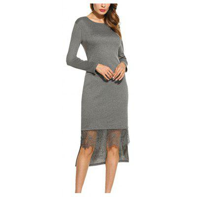 Buy GRAY M Spring long sleeve waist stitching lace long irregular dress for $23.20 in GearBest store
