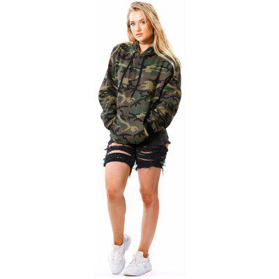 Buy ARMYGREEN L Womens New Camouflage Print Large Size Hoodie for $21.06 in GearBest store
