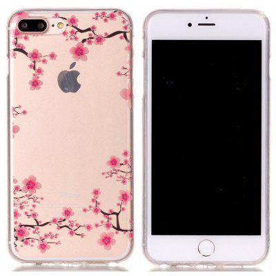 Red Peach Blossom Thin Slim Soft TPU Silicone Case for iPhone 7 Plus / 8 Plus