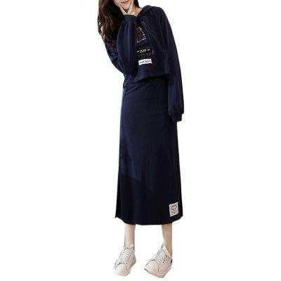 Buy BLACK L Women's Suits Hooded Long Sleeve Print Skirt Suits for $26.48 in GearBest store