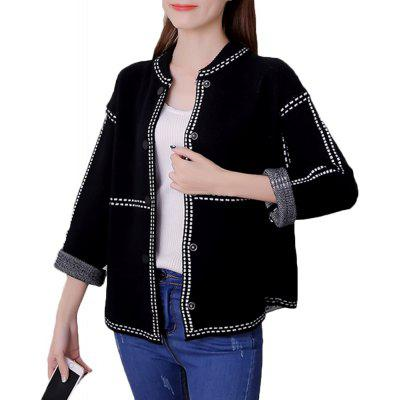 Buy BLACK L Women's Bomber Jacket Solid Knit Loose Long Sleeve Bomber Jacket for $29.76 in GearBest store