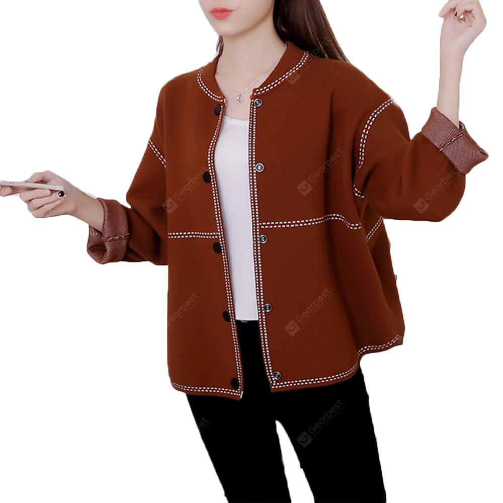MOCHA XL Women's Bomber Jacket Solid Knit Loose Long Sleeve Bomber Jacket