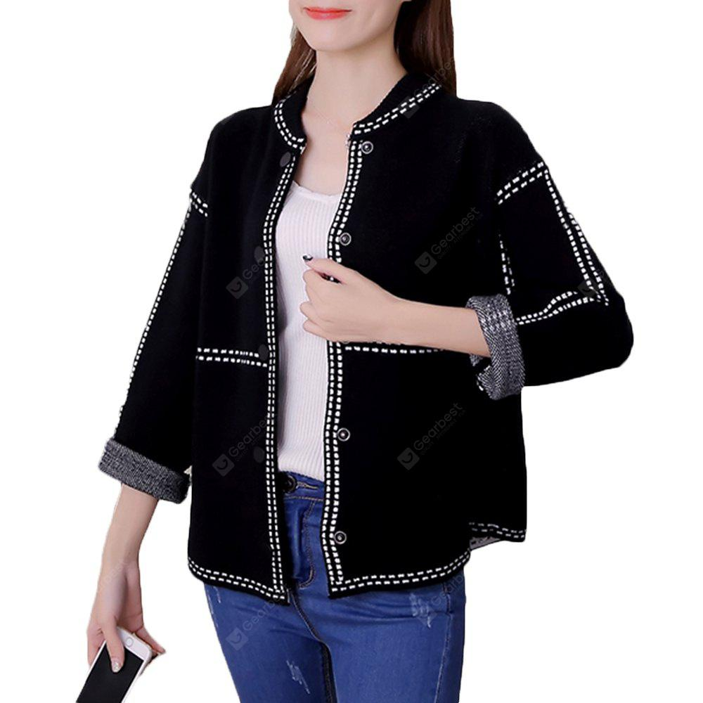 BLACK L Women's Bomber Jacket Solid Knit Loose Long Sleeve Bomber Jacket