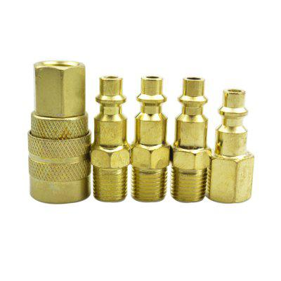 5 Piece Solid EU and JP Plug Quick Coupler Set Air Hose Connector Fittings 1/4 NPT Tools