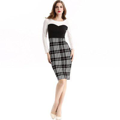 Buy WHITE 2XL Women Europe and America Autumn Self Cultivation Zipper Pencil Dresses for $24.46 in GearBest store