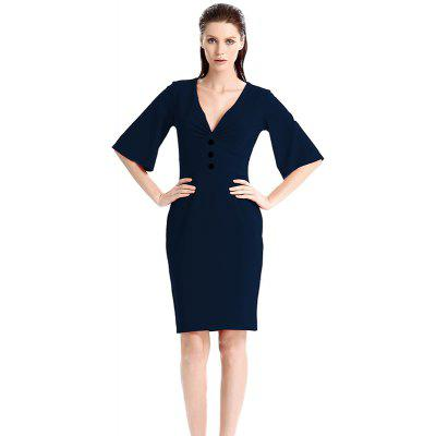 Buy CERULEAN M Europe and America Simple Generous Deep V Collar Dress for $24.81 in GearBest store
