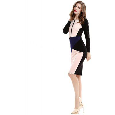 2017 Europe and America Burst Fashion Self Cultivation Stitching Collision Color New Style Pencil Dresses D0532