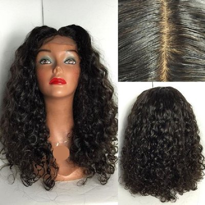 Peruvian Human Hair Lace Wig Deep Curly Lace Front Wig Middle Part Glueless Lace Front Wig for Black Women peruvian glueless lace front human hair