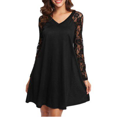Buy BLACK L V-neck Lace Patchwork Dress for $19.80 in GearBest store