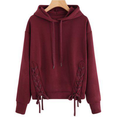 Buy BURGUNDY L Long Sleeve Pure Color Hoodie for $22.07 in GearBest store
