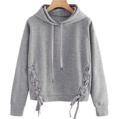 Buy LIGHT GRAY XL Long Sleeve Pure Color Hoodie for $22.07 in GearBest store