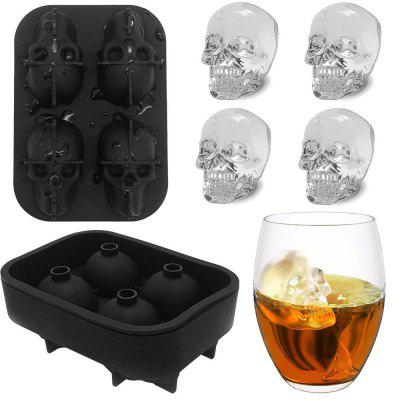 3D Skull Ice Cube Mold Tray Pudding Silicone 4-Cavity DIY Ice Maker Household Use