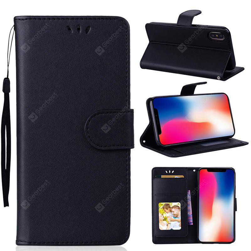 PU Leather Material Photo Frame Solid Color Phone Case for iPhone X