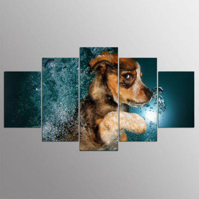 YSDAFEN 5 Pcs Border Collie Dog Cute Animals Canvas Painting For Living Room Wall Art