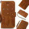 Wind Chime Leather Case with Water Drill for Huawei P8 Lite 2017 - BROWN