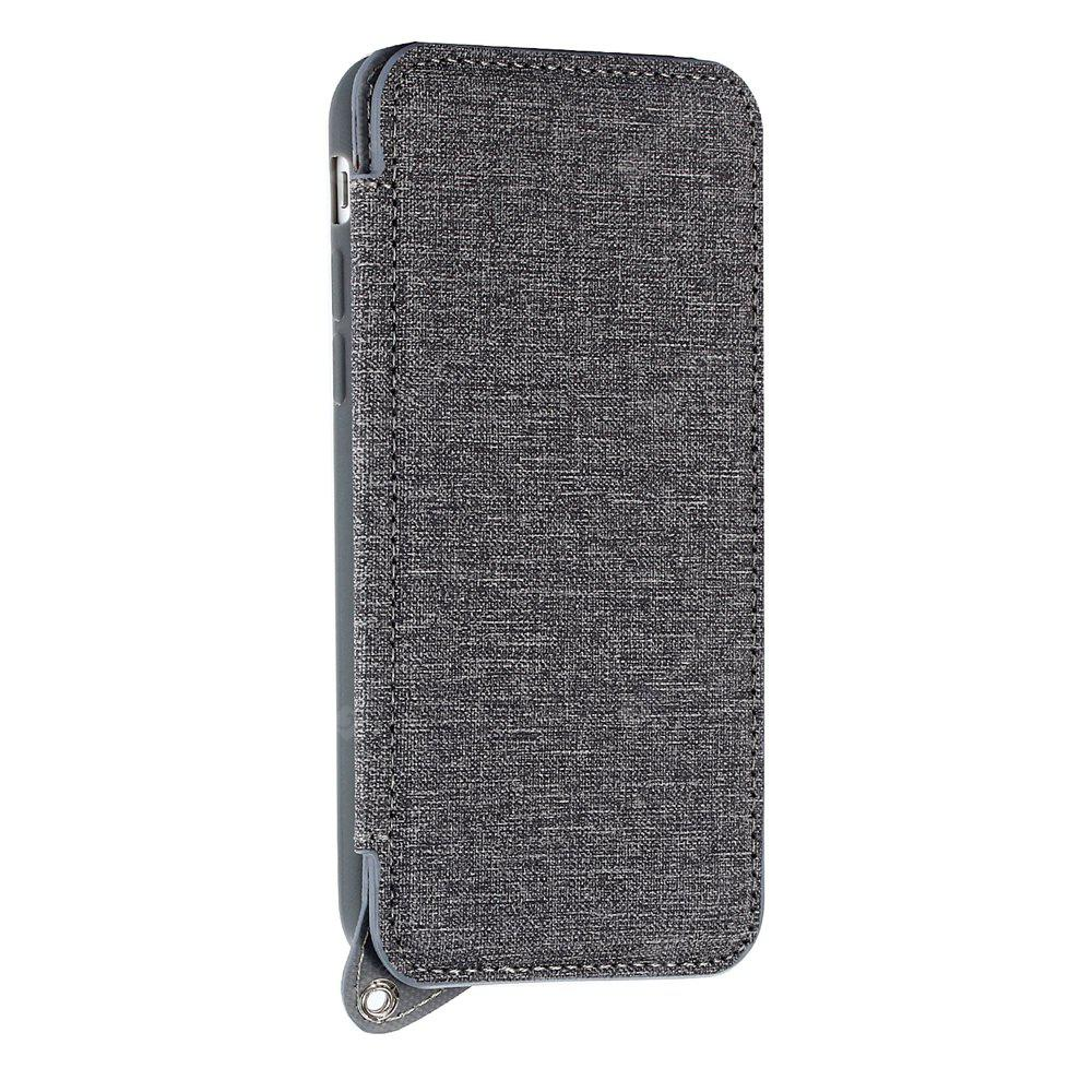 Double Magnetic Rivet Closure Jeans Cloth Texture Leather Wallet Case for iPhone 7 / 8